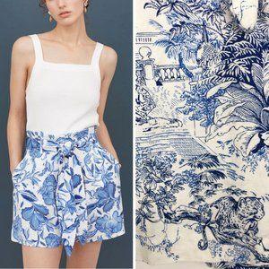 H&M 4 Shorts Paper Bag Linen Blue White Toile High